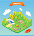 car travel and camping isometric concept vector image vector image