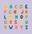 cartoon funny font color english baby alphabet vector image vector image