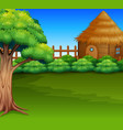 cartoon of wood cabin in a green field vector image vector image