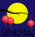 chinese lanterns with full moon vector image