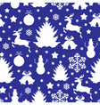 christmas pattern blue vector image