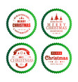 christmas typography with green circles vector image vector image