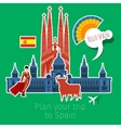 concept travel or studying spanish vector image vector image
