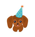 dachshund happy dog poster vector image vector image