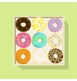 Donut icon set Flat vector image