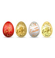 easter egg 3d icon eggs set flower gold vector image