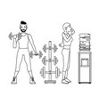 fitness people cartoon in black and white vector image