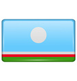 Flags Sakha Republic in the form of a magnet on vector image