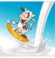 funny cow surfing on milk splash - blue background vector image vector image