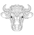 Hand drawn doodle outline cow head vector image