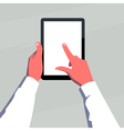 Hands holding tablet vector image vector image