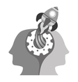 heads with space rocket icon vector image vector image