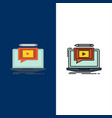 laptop player screen tutorial video icons flat vector image