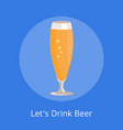 lets drink beer icon pilsner glass beer isolated vector image vector image