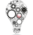 Light bulb gears inside with power button vector image