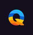 logo letter q colorful blue red orange vector image