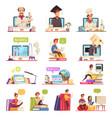 online courses cartoon set vector image