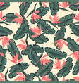pattern with pink strelitzia vector image