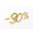 realistic golden text 30 percent discount number vector image vector image