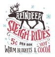 Reindeer sleigh rides signboard vector image vector image