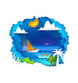 sailboat on tropical sea vector image vector image