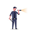 security guard man in black uniform holding vector image vector image
