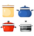 set kitchen pans in style a card of vector image vector image