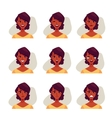Set of african woman face expression avatars vector image vector image