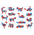 set of animal figures and modes of transportation vector image