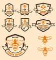 set of vintage honey labels template bee icons vector image vector image