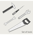 set tools screwdriver wrench hammer saw vector image