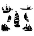 silhouettes of historic sailing ships-1 vector image