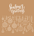simple christmas card with hanging linear baubles vector image