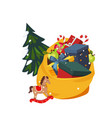 toy bag full of gifts and christmas tree holiday vector image