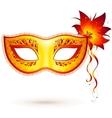 Yellow venitian carnival mask vector image vector image