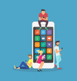 young children are near a large smartphone vector image vector image