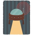 Vintage poster with of ufo vector image