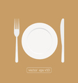 Plate dish with fork and knife Eat sign icon vector image