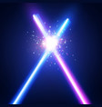 abstract background with two crossed neon swords vector image vector image