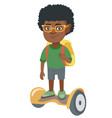 african schoolboy riding on gyroboard to school vector image