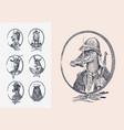 animal characters set crocodile safari hunter vector image vector image