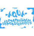 Aqua hand drawn typeset water alphabet