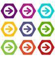 arrow in circle icon set color hexahedron vector image vector image