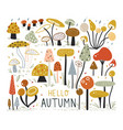 autumn elements collection in flat style mushroom vector image vector image