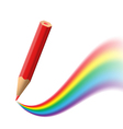 Background with red pencil painting rainbow vector image vector image
