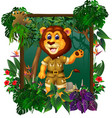 brown lion in forest with tropical plant flower vector image vector image