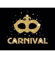 Carnival golden glitter mask poster flyer vector image