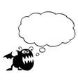 cartoon crazy flat black monster with empty vector image vector image