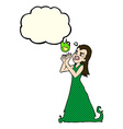 cartoon witch woman casting spell with thought vector image vector image