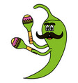 chilli pepper with maracas comic character vector image vector image